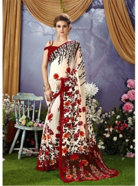 YNF Faux Georgette Floral Print Off White Saree