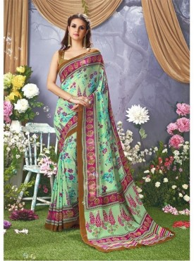 YNF Faux Georgette Floral Print Light Green Saree