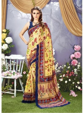 YNF Faux Georgette Floral Print Yellow Saree