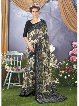 YNF Faux Georgette Floral Print Off White & Black Saree