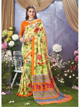 YNF Faux Georgette Floral Print Lemon Yellow Saree