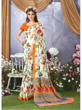YNF Faux Georgette Floral Print White Saree