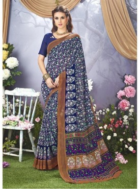 YNF Faux Georgette Floral Print Blue Saree | Acchajee