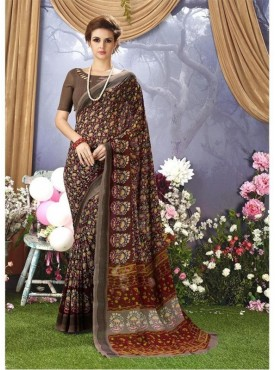 YNF Faux Georgette Floral Print Brown Saree