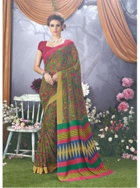YNF Faux Georgette Floral Print Olive Saree