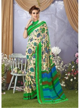 YNF Faux Georgette Floral Print Beige & Lime Green Saree