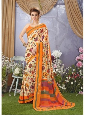 YNF Faux Georgette Floral Print Beige & Orange Saree