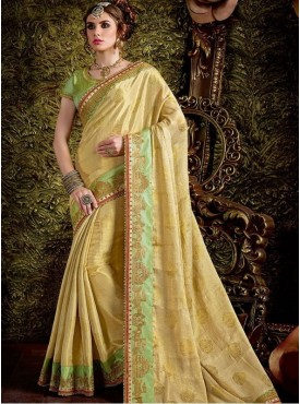 Roykals Textile Georgette Yellow Embroidered Saree