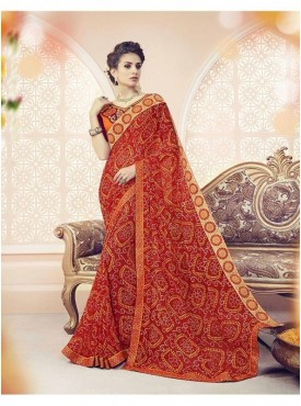 Roykals Textile Georgette Red Printed Saree