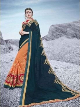 Roykals Textile Georgette Light Blue Embroidered Saree
