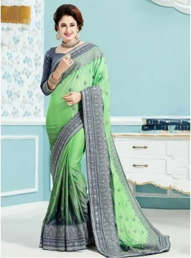 Roykals Textile Crepe Silk Green Embroidered Saree