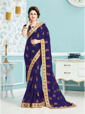 Roykals Textile Georgette Dark Blue Embroidered Saree