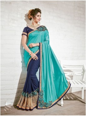 Roykals Textile Georgette Turquoise Embroidered Saree