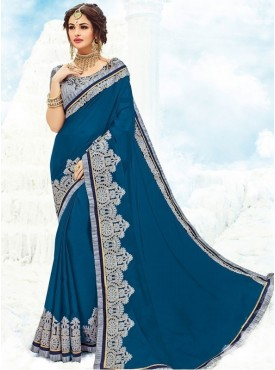 Roykals Textile Georgette Teal Blue Embroidered Saree