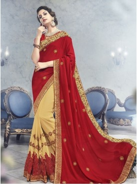 Roykals Textile Georgette Red  Embroidered Saree