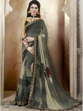 Roykals Textile Georgette Multi  Printed Saree