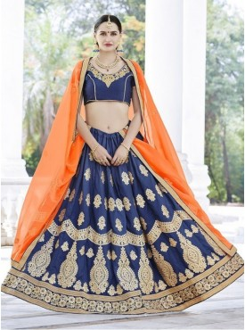Roykals Textile Chinnon nevy Blue Embroidered Lehenga