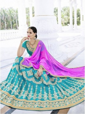 Roykals Textile Chinnon Sky blue Embroidered Lehenga