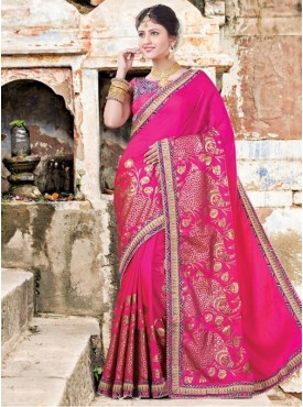 Roykals Textile Georgette Pink Embroidered Saree