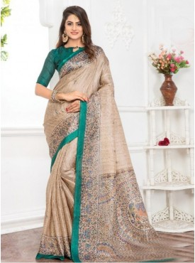 Roykals Textile Georgette Cream Printed Saree