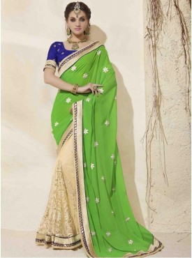 Roykals Textile Georgette Green Embroidered Saree