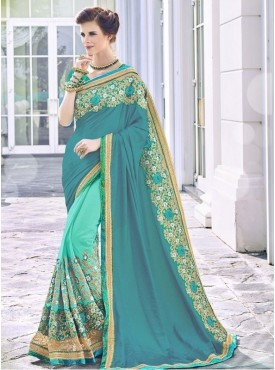 Roykals Textile Georgette Sky Blue Embroidered Saree