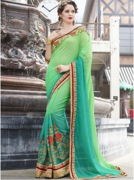 Roykals Textile Georgette Light Green Embroidered Saree