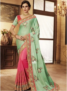 Roykals Textile Georgette Sea Green Embroidered Saree