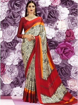 Roykals Textile Crepe Silk Cream Printed Saree