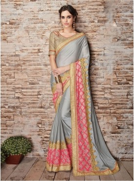 Roykals Textile Chinnon Grey Embroidered Saree