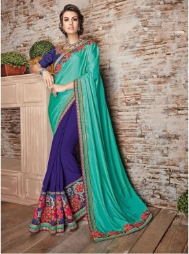 Roykals Textile Satin Turquoise Embroidered Saree