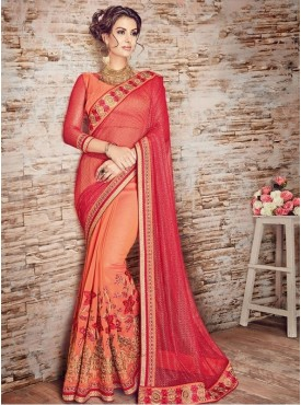 Roykals Textile Net Red  Embroidered Saree