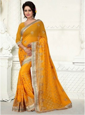 Roykals Textile Georgette Musterd Embroidered Saree