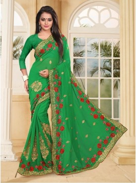Roykals Textile Georgette Parrot Green Embroidered Saree