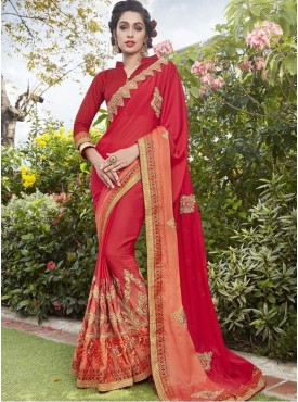Roykals Textile Chiffon Red Embroidered Saree