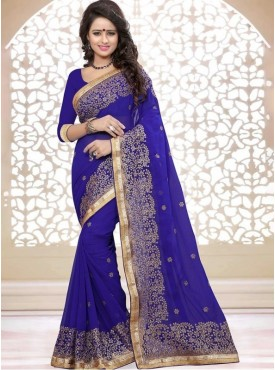 Roykals Textile Georgette Royal Blue Embroidered Saree