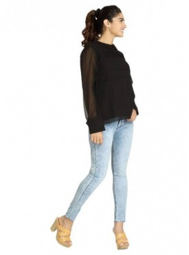 Blu Finch Casual Full Sleeve Solid Women's Black Top