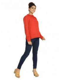 Blu Finch Casual Full Sleeve Solid Women's Red Top