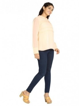 Blu Finch Casual Full Sleeve Solid Women's Pink Top