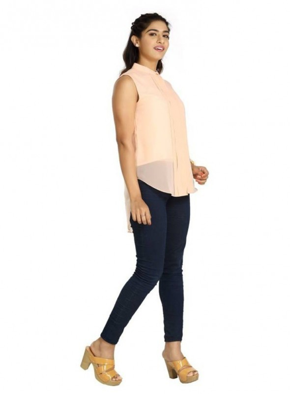 Blu Finch Casual Sleeveless Solid Women's Pink Top