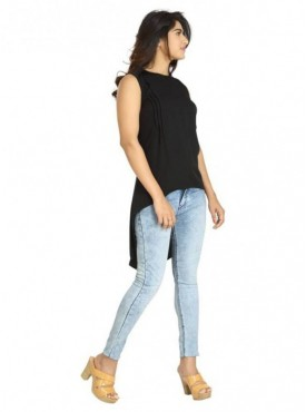Blu Finch Casual Sleeveless Solid Women's Black Top