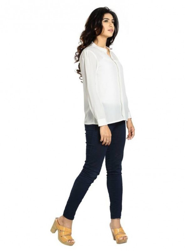 Blu Finch Casual Full Sleeve Solid Women's White Top