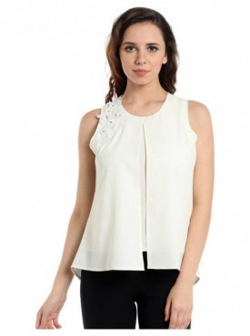 Blu Finch Casual Sleeveless Solid Women's Top