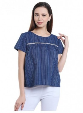 Blu Finch Casual Short Sleeve Striped Women's Blue Top