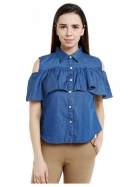 Blu Finch Casual Short Sleeve Solid Women's Blue Top