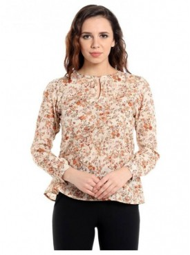 Blu Finch Casual Full Sleeve Floral Print Women's Orange Top