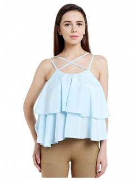Blu Finch Casual Shoulder Strap Solid Women's Blue Top