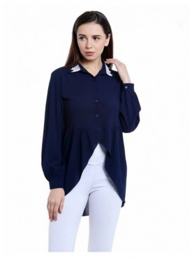 Blu Finch Casual Full Sleeve Solid Women's Blue Top