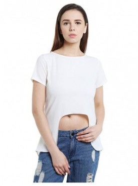 Blu Finch Casual Short Sleeve Solid Women's White Top