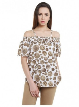 Blu Finch Casual Shoulder Strap Polka Print Women's Brown Top